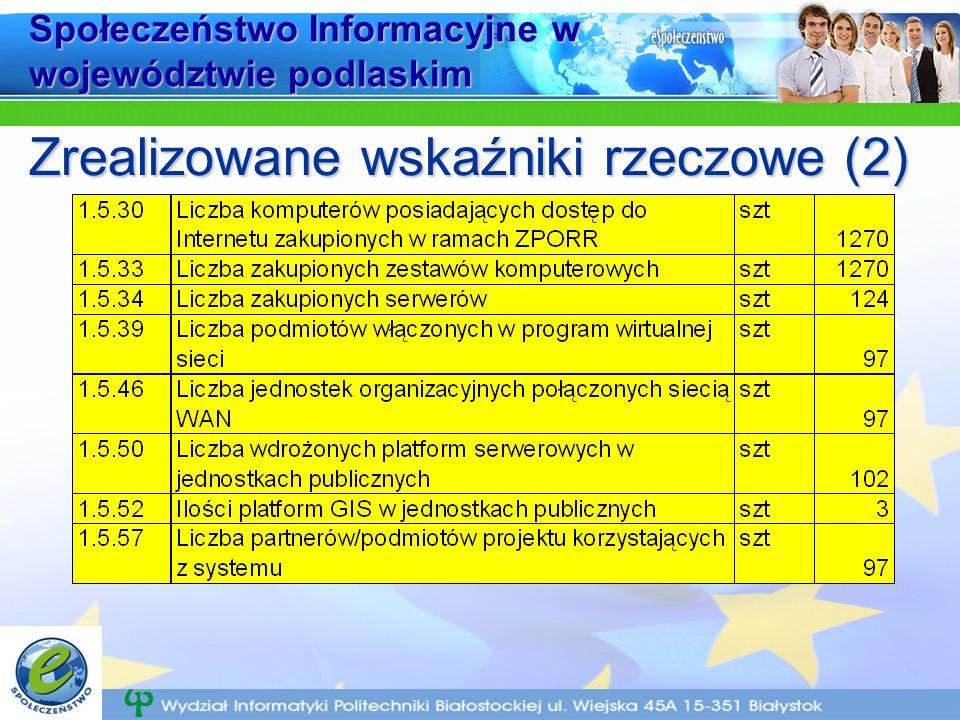 Społeczeństwo Informacyjne w województwie podlaskim Zrealizowane wskaźniki rzeczowe (2)