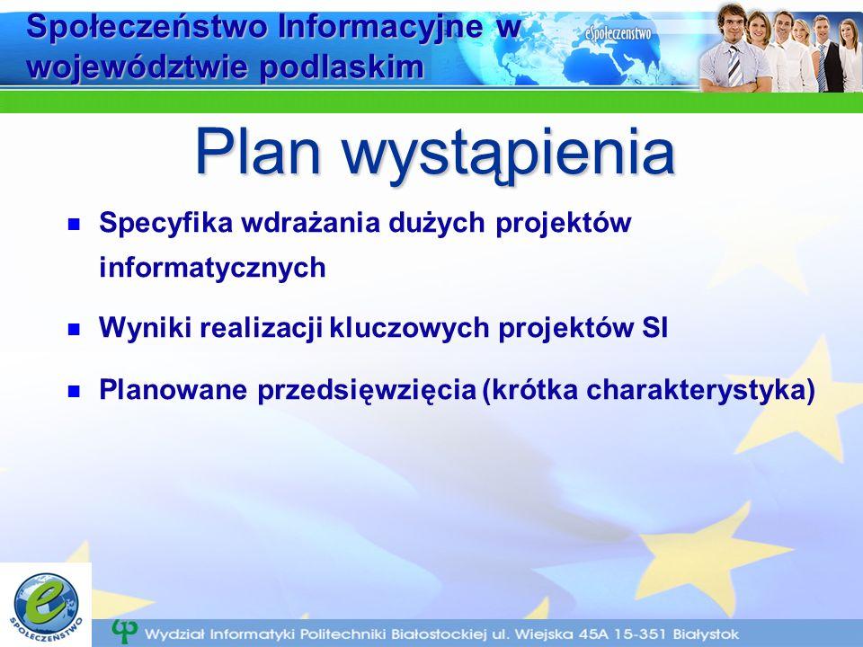 Społeczeństwo Informacyjne w województwie podlaskim Specyfika wdrażania dużych projektów informatycznych Wyniki realizacji kluczowych projektów SI Planowane przedsięwzięcia (krótka charakterystyka) Plan wystąpienia