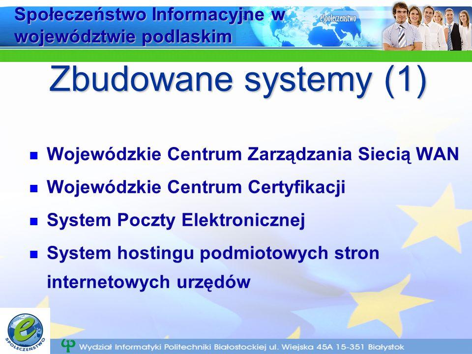 Społeczeństwo Informacyjne w województwie podlaskim Wojewódzkie Centrum Zarządzania Siecią WAN Wojewódzkie Centrum Certyfikacji System Poczty Elektronicznej System hostingu podmiotowych stron internetowych urzędów Zbudowane systemy (1)