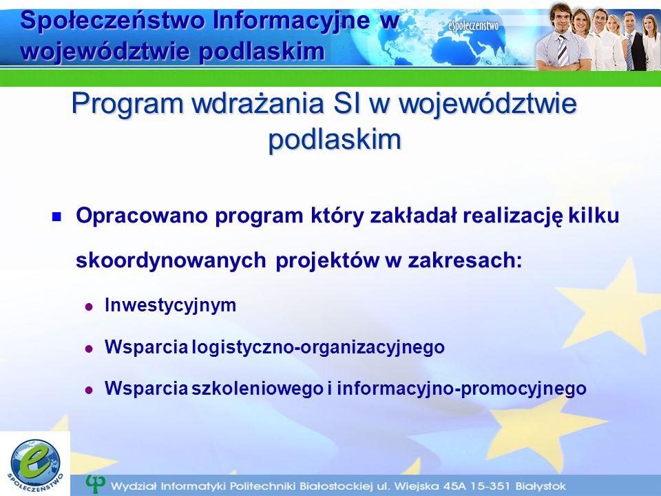 Społeczeństwo Informacyjne w województwie podlaskim Opracowano program który zakładał realizację kilku skoordynowanych projektów w zakresach: Inwestycyjnym Wsparcia logistyczno-organizacyjnego Wsparcia szkoleniowego i informacyjno-promocyjnego Program wdrażania SI w województwie podlaskim