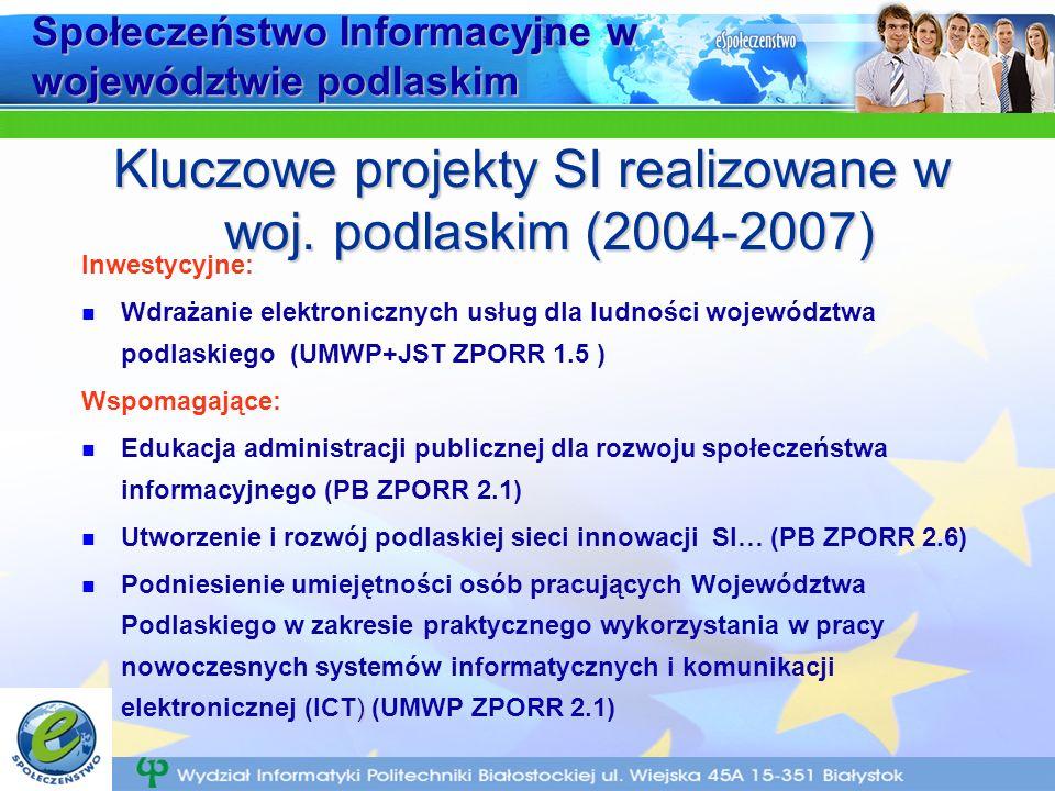 Społeczeństwo Informacyjne w województwie podlaskim Inwestycyjne: Wdrażanie elektronicznych usług dla ludności województwa podlaskiego (UMWP+JST ZPORR 1.5 ) Wspomagające: Edukacja administracji publicznej dla rozwoju społeczeństwa informacyjnego (PB ZPORR 2.1) Utworzenie i rozwój podlaskiej sieci innowacji SI… (PB ZPORR 2.6) ) Podniesienie umiejętności osób pracujących Województwa Podlaskiego w zakresie praktycznego wykorzystania w pracy nowoczesnych systemów informatycznych i komunikacji elektronicznej (ICT) (UMWP ZPORR 2.1) Kluczowe projekty SI realizowane w woj.