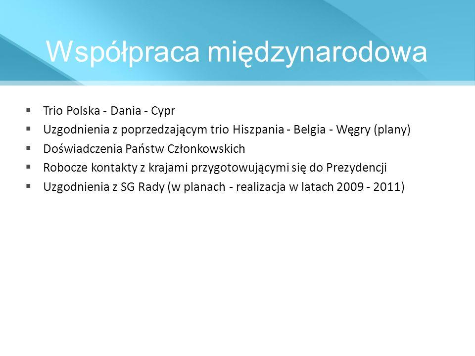 Współpraca międzynarodowa Trio Polska - Dania - Cypr Uzgodnienia z poprzedzającym trio Hiszpania - Belgia - Węgry (plany) Doświadczenia Państw Członko