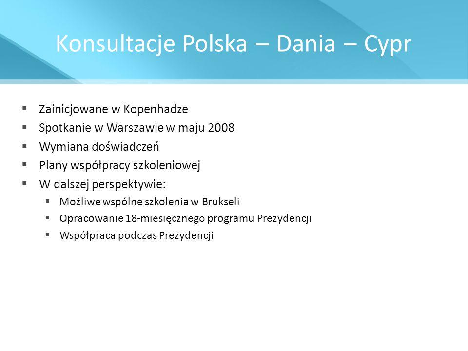 Konsultacje Polska – Dania – Cypr Zainicjowane w Kopenhadze Spotkanie w Warszawie w maju 2008 Wymiana doświadczeń Plany współpracy szkoleniowej W dals
