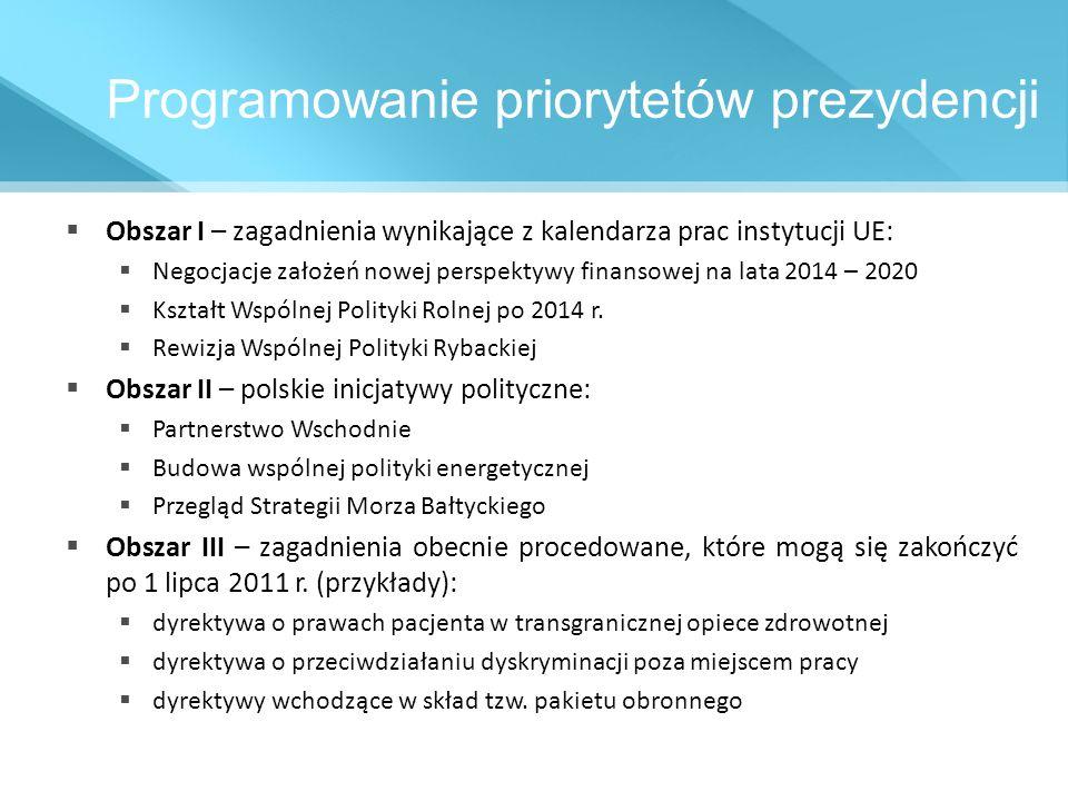 Programowanie priorytetów prezydencji Obszar I – zagadnienia wynikające z kalendarza prac instytucji UE: Negocjacje założeń nowej perspektywy finansow
