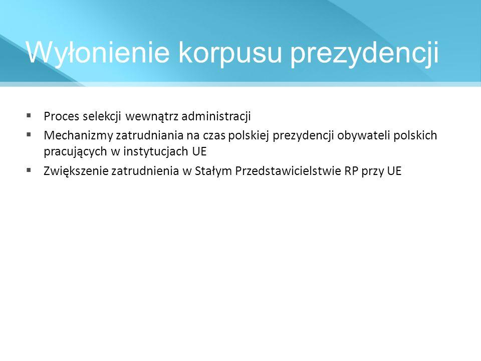 Wyłonienie korpusu prezydencji Proces selekcji wewnątrz administracji Mechanizmy zatrudniania na czas polskiej prezydencji obywateli polskich pracując
