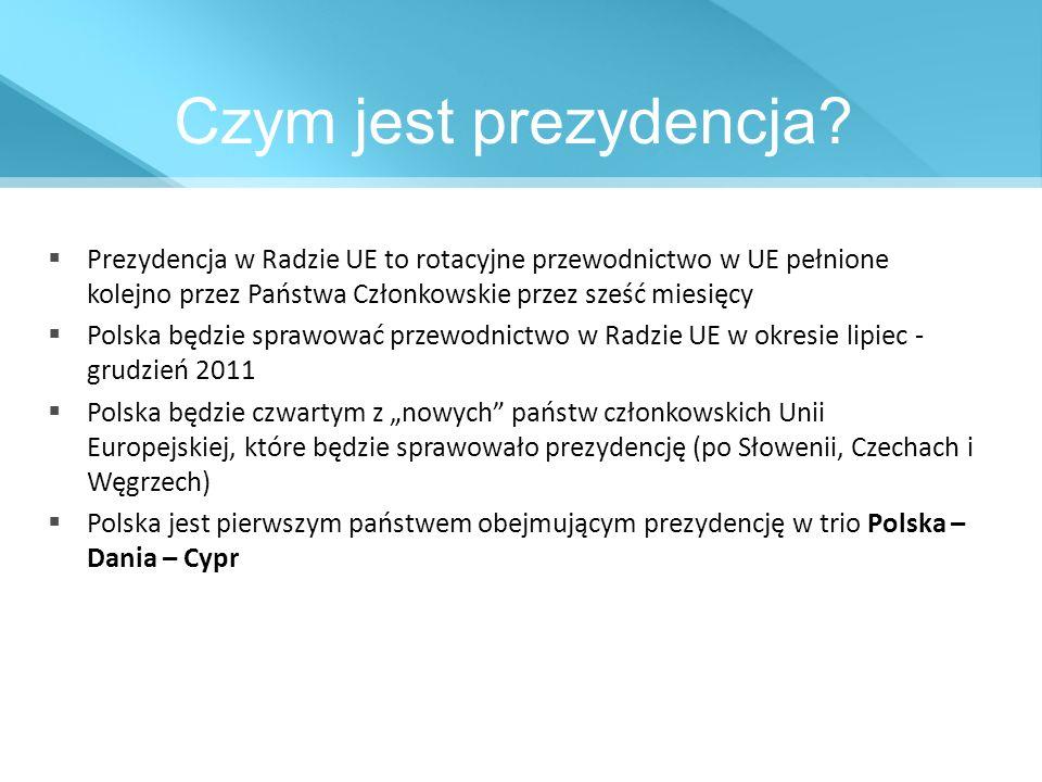 Czym jest prezydencja? Prezydencja w Radzie UE to rotacyjne przewodnictwo w UE pełnione kolejno przez Państwa Członkowskie przez sześć miesięcy Polska