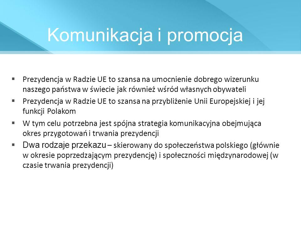 Komunikacja i promocja Prezydencja w Radzie UE to szansa na umocnienie dobrego wizerunku naszego państwa w świecie jak również wśród własnych obywatel