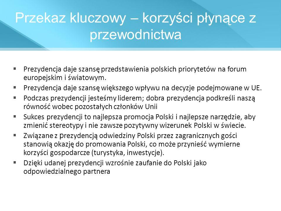 Przekaz kluczowy – korzyści płynące z przewodnictwa Prezydencja daje szansę przedstawienia polskich priorytetów na forum europejskim i światowym. Prez