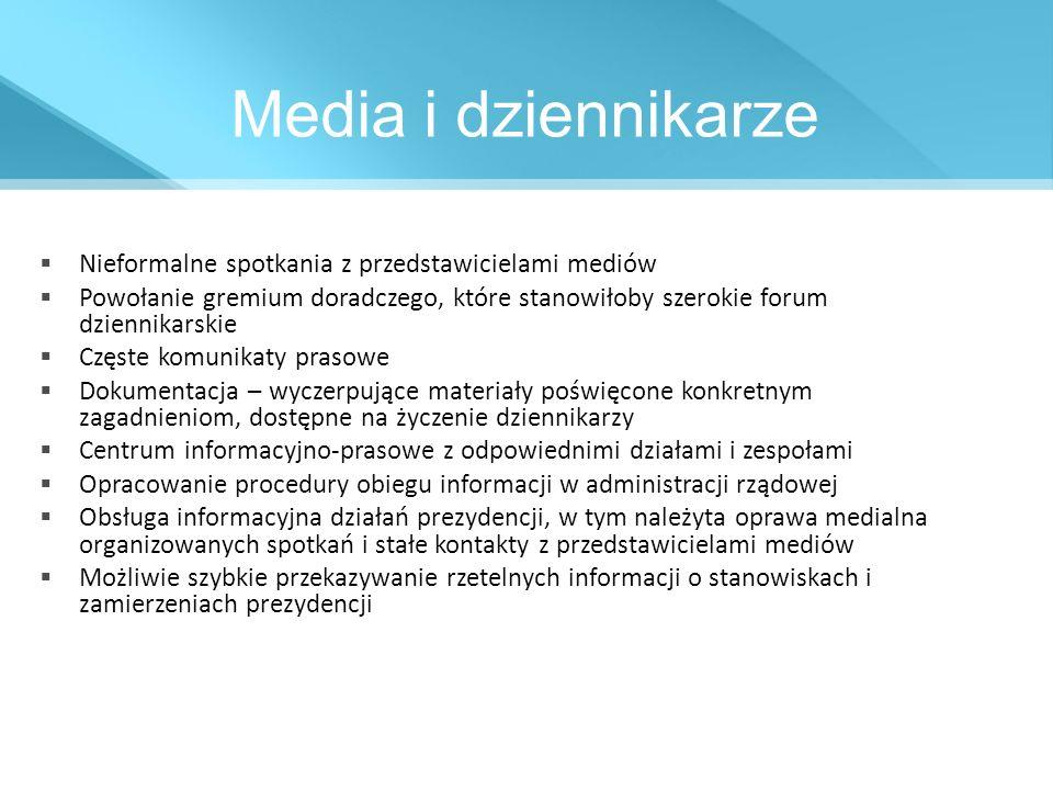 Media i dziennikarze Nieformalne spotkania z przedstawicielami mediów Powołanie gremium doradczego, które stanowiłoby szerokie forum dziennikarskie Cz