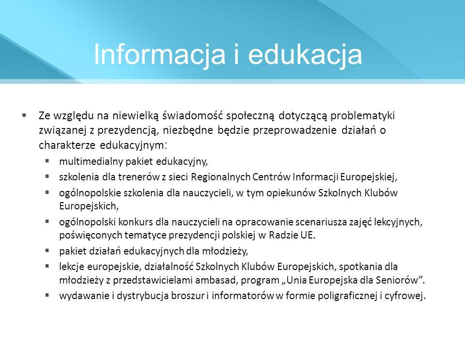 Informacja i edukacja Ze względu na niewielką świadomość społeczną dotyczącą problematyki związanej z prezydencją, niezbędne będzie przeprowadzenie dz