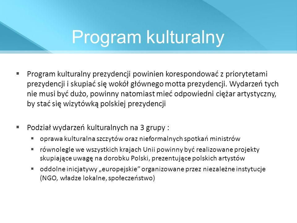 Program kulturalny Program kulturalny prezydencji powinien korespondować z priorytetami prezydencji i skupiać się wokół głównego motta prezydencji. Wy