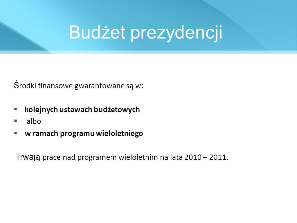 Budżet prezydencji Ś rodki finansowe gwarantowane są w: kolejnych ustawach budżetowych albo w ramach programu wieloletniego Trwają prace nad programem