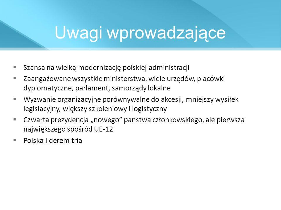 Harmonogram prac programowych DziałanieCzas Wstępna identyfikacja obszarów priorytetowychI/II kwartał 2009 Przygotowanie kalendarza prezydencjiIII/IV kwartał 2009 Monitorowanie stanu prac nad propozycjami legislacyjnymi instytucji UE III kwartał 2009/ II kwartał 2011 Przygotowanie 18 – miesięcznego programu tria Polska – Dania Cypr I kwartał 2010 Przygotowanie kompletnego programu prezydencji I/II kwartał 2010 Oficjalna prezentacja kalendarza prezydencjiIV kwartał 2010