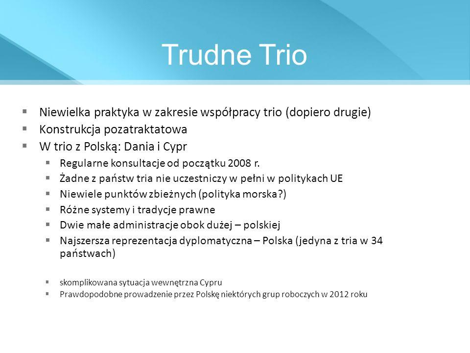 Trudne Trio Niewielka praktyka w zakresie współpracy trio (dopiero drugie) Konstrukcja pozatraktatowa W trio z Polską: Dania i Cypr Regularne konsulta