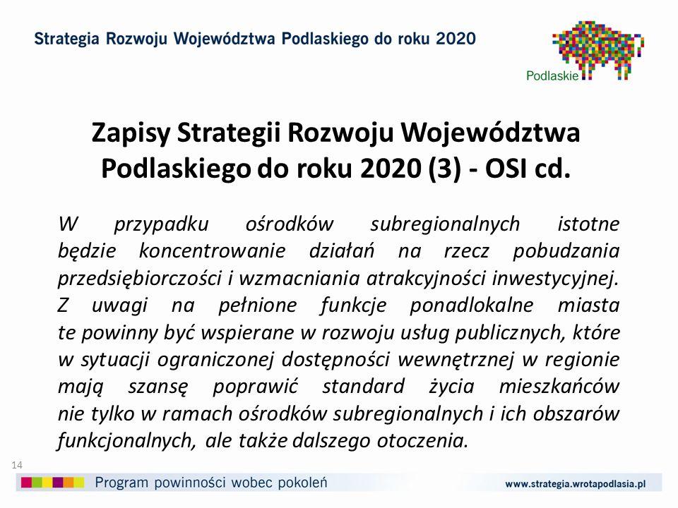 Zapisy Strategii Rozwoju Województwa Podlaskiego do roku 2020 (3) - OSI cd.