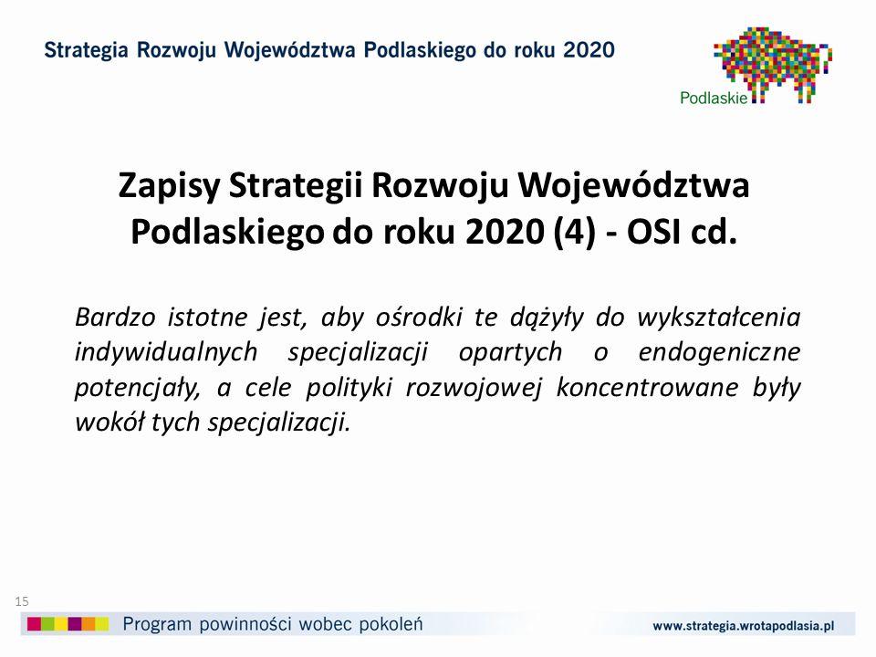 Zapisy Strategii Rozwoju Województwa Podlaskiego do roku 2020 (4) - OSI cd.