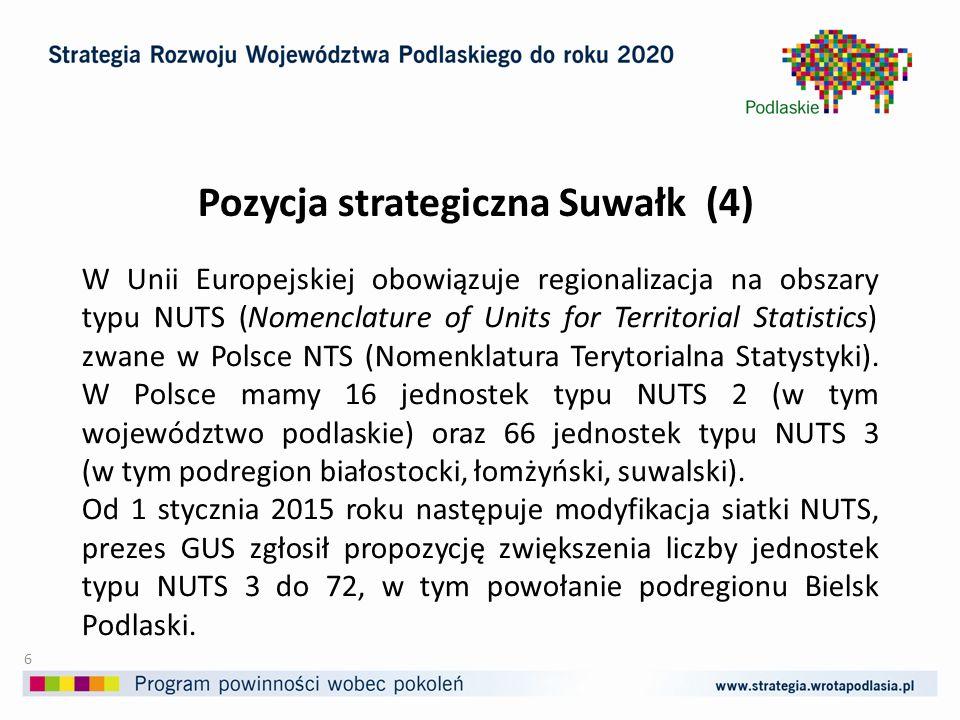 Pozycja strategiczna Suwałk (5) Najskuteczniej jeśli budowana jest na unikalnych potencjałach i zasobach rozwojowych.
