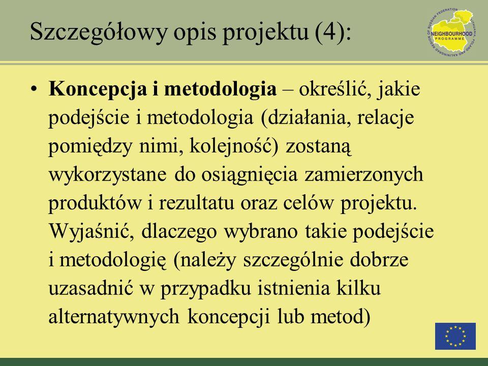 Szczegółowy opis projektu (4): Koncepcja i metodologia – określić, jakie podejście i metodologia (działania, relacje pomiędzy nimi, kolejność) zostaną
