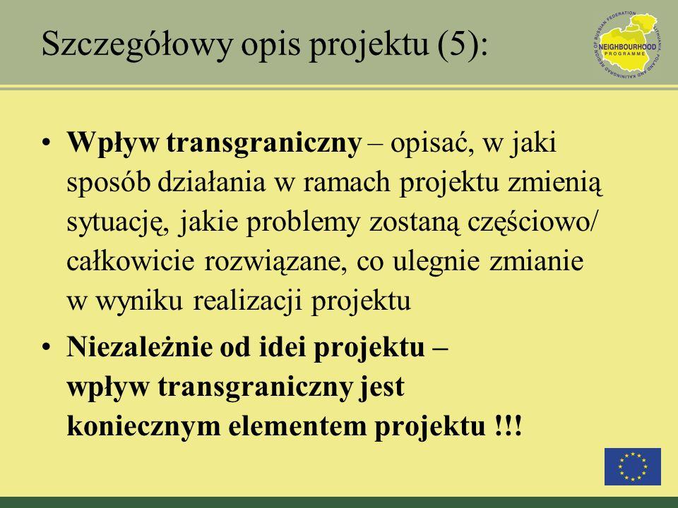 Szczegółowy opis projektu (5): Wpływ transgraniczny – opisać, w jaki sposób działania w ramach projektu zmienią sytuację, jakie problemy zostaną częśc