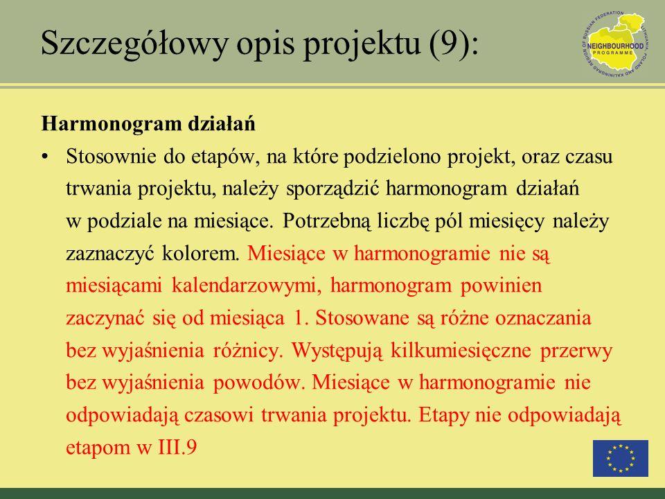 Szczegółowy opis projektu (9): Harmonogram działań Stosownie do etapów, na które podzielono projekt, oraz czasu trwania projektu, należy sporządzić ha