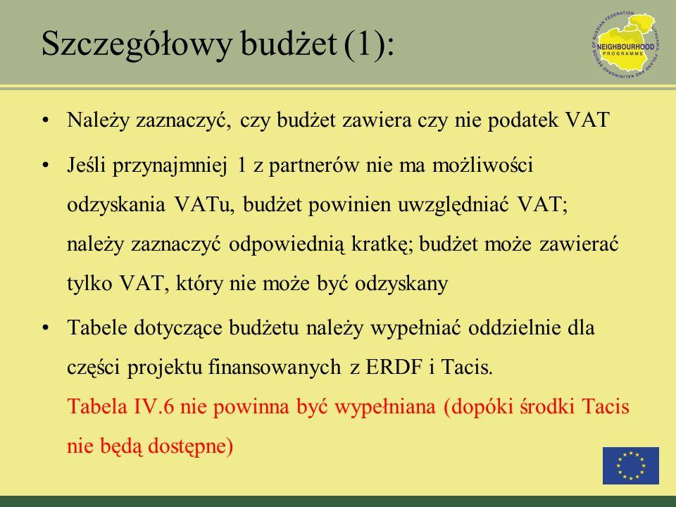 Szczegółowy budżet (1): Należy zaznaczyć, czy budżet zawiera czy nie podatek VAT Jeśli przynajmniej 1 z partnerów nie ma możliwości odzyskania VATu, b