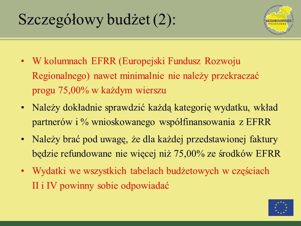 Szczegółowy budżet (2): W kolumnach EFRR (Europejski Fundusz Rozwoju Regionalnego) nawet minimalnie nie należy przekraczać progu 75,00% w każdym wiers