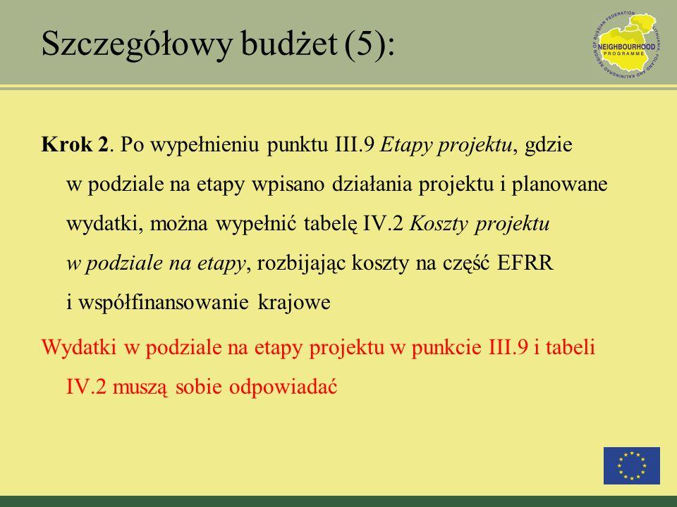 Szczegółowy budżet (5): Krok 2. Po wypełnieniu punktu III.9 Etapy projektu, gdzie w podziale na etapy wpisano działania projektu i planowane wydatki,