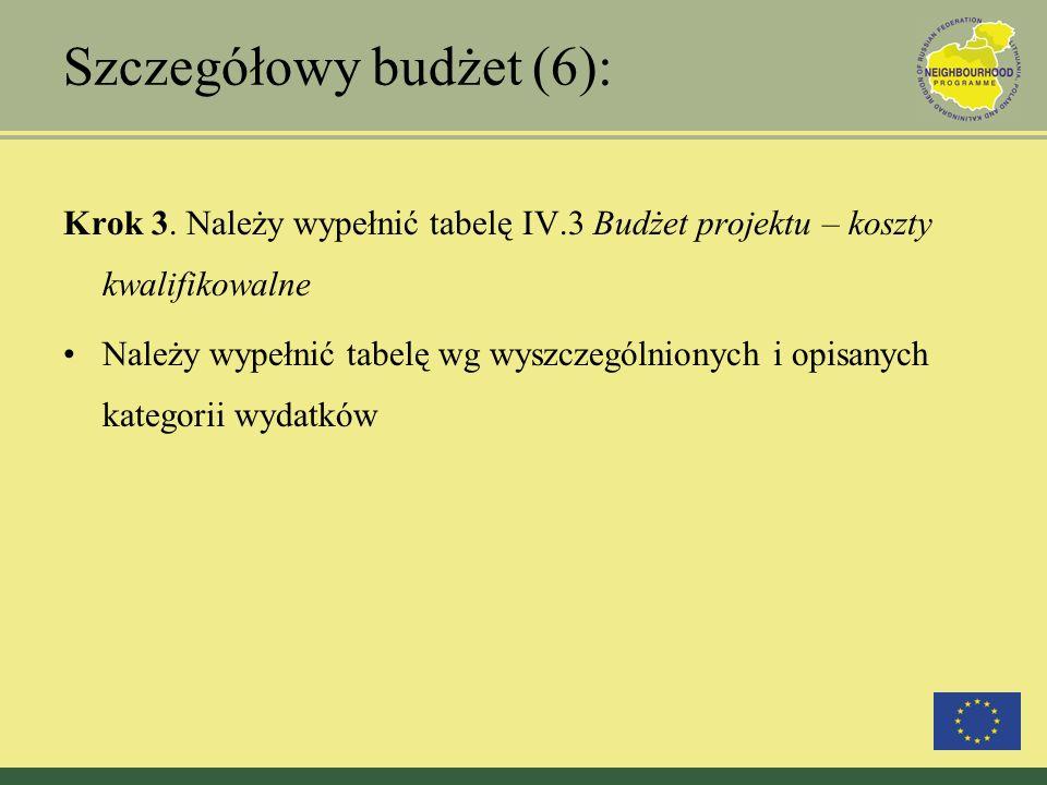 Szczegółowy budżet (6): Krok 3. Należy wypełnić tabelę IV.3 Budżet projektu – koszty kwalifikowalne Należy wypełnić tabelę wg wyszczególnionych i opis