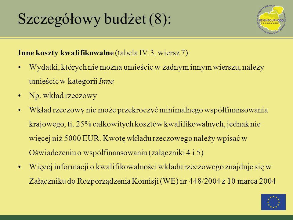 Szczegółowy budżet (8): Inne koszty kwalifikowalne (tabela IV.3, wiersz 7): Wydatki, których nie można umieścic w żadnym innym wierszu, należy umieści