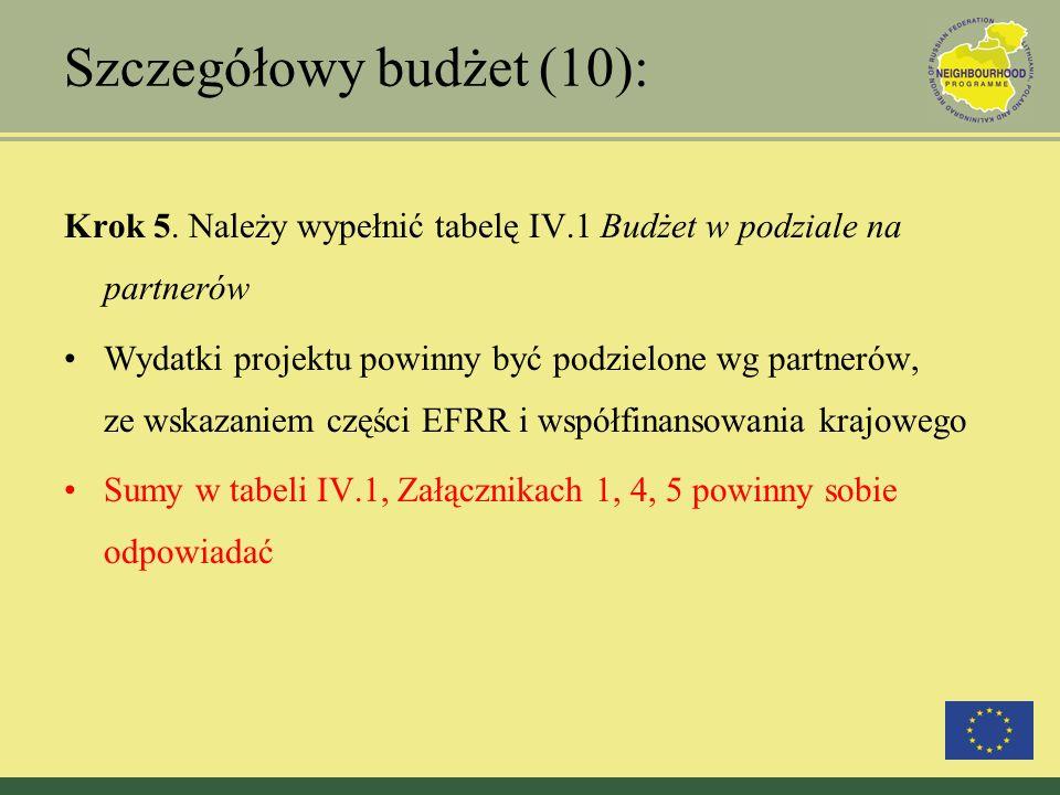 Szczegółowy budżet (10): Krok 5. Należy wypełnić tabelę IV.1 Budżet w podziale na partnerów Wydatki projektu powinny być podzielone wg partnerów, ze w