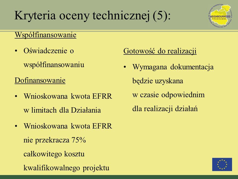 Kryteria oceny technicznej (5): Współfinansowanie Oświadczenie o współfinansowaniu Dofinansowanie Wnioskowana kwota EFRR w limitach dla Działania Wnio