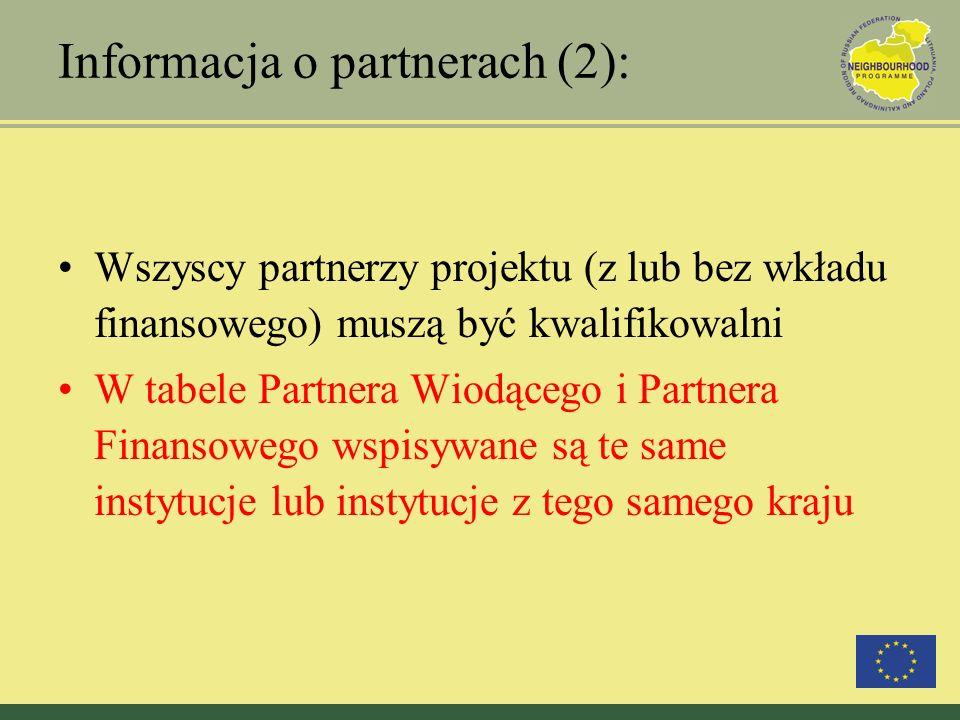 Informacja o partnerach (2): Wszyscy partnerzy projektu (z lub bez wkładu finansowego) muszą być kwalifikowalni W tabele Partnera Wiodącego i Partnera