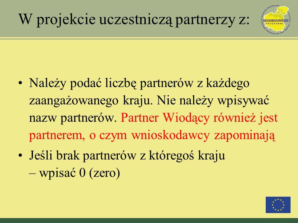 Priorytety i Działania: Wypełniając tę część należy kierować się dokumentami programowymi !!.