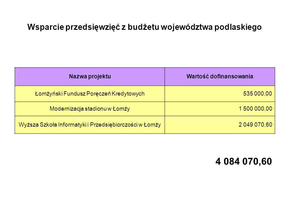Wsparcie przedsięwzięć z budżetu województwa podlaskiego Nazwa projektuWartość dofinansowania Łomżyński Fundusz Poręczeń Kredytowych535 000,00 Modernizacja stadionu w Łomży1 500 000,00 Wyższa Szkoła Informatyki i Przedsiębiorczości w Łomży2 049 070,60 4 084 070,60