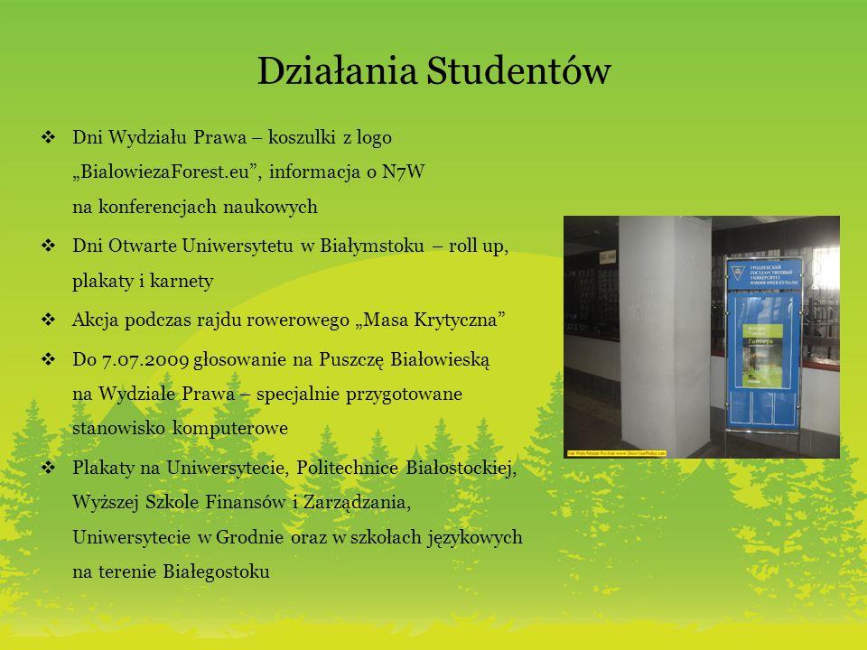 Działania Studentów Dni Wydziału Prawa – koszulki z logo BialowiezaForest.eu, informacja o N7W na konferencjach naukowych Dni Otwarte Uniwersytetu w B