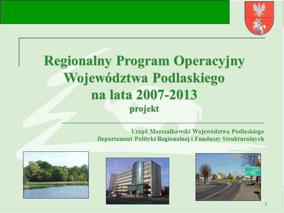 2 Dokumenty programowe 2007 - 2013 Strategiczne Wytyczne Wspólnoty (PWW) Narodowe Strategiczne Ramy Odniesienia na lata 2007 -2013 (NSRO) Regionalny Program Operacyjny Województwa Podlaskiego na lata 2007 -2013 URZĄD MARSZAŁKOWSKI WOJEWÓDZTWA PODLASKIEGO Departament Polityki Regionalnej i Funduszy Strukturalnych