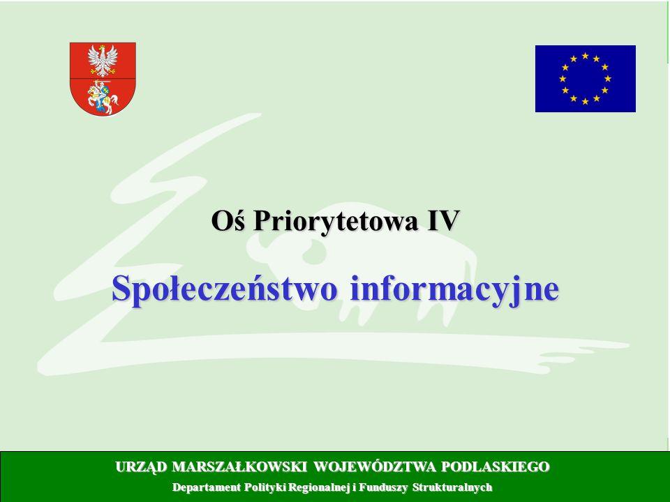 URZĄD MARSZAŁKOWSKI WOJEWÓDZTWA PODLASKIEGO Departament Polityki Regionalnej i Funduszy Strukturalnych Oś Priorytetowa IV Społeczeństwo informacyjne