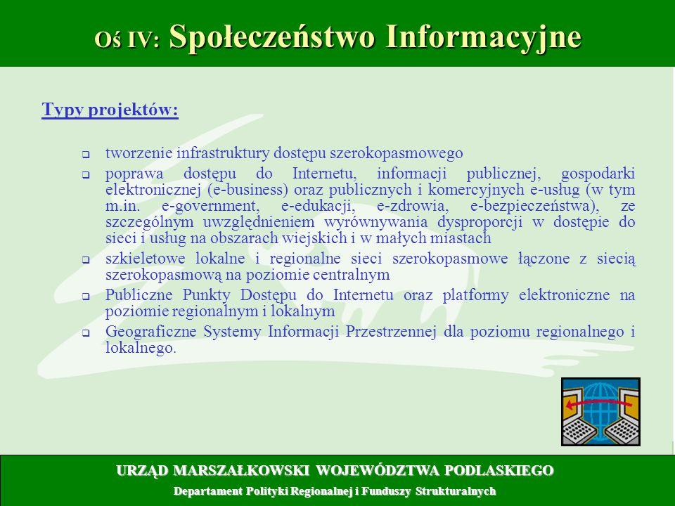 11 Oś IV: Społeczeństwo Informacyjne Typy projektów: tworzenie infrastruktury dostępu szerokopasmowego poprawa dostępu do Internetu, informacji public