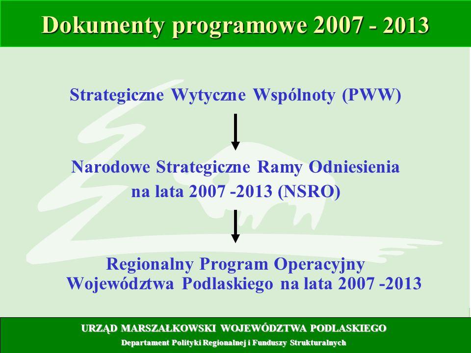 2 Dokumenty programowe 2007 - 2013 Strategiczne Wytyczne Wspólnoty (PWW) Narodowe Strategiczne Ramy Odniesienia na lata 2007 -2013 (NSRO) Regionalny P