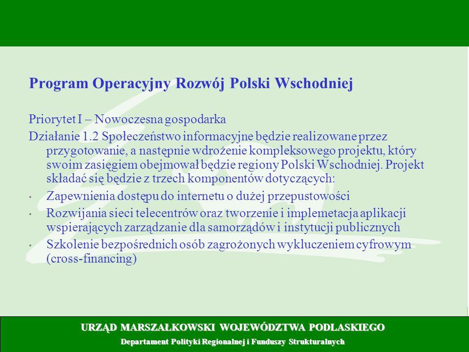 5 Program Operacyjny Rozwój Polski Wschodniej Priorytet I – Nowoczesna gospodarka Działanie 1.2 Społeczeństwo informacyjne będzie realizowane przez pr