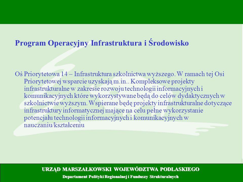 6 Program Operacyjny Infrastruktura i Środowisko Oś Priorytetowa 14 – Infrastruktura szkolnictwa wyższego. W ramach tej Osi Priorytetowej wsparcie uzy