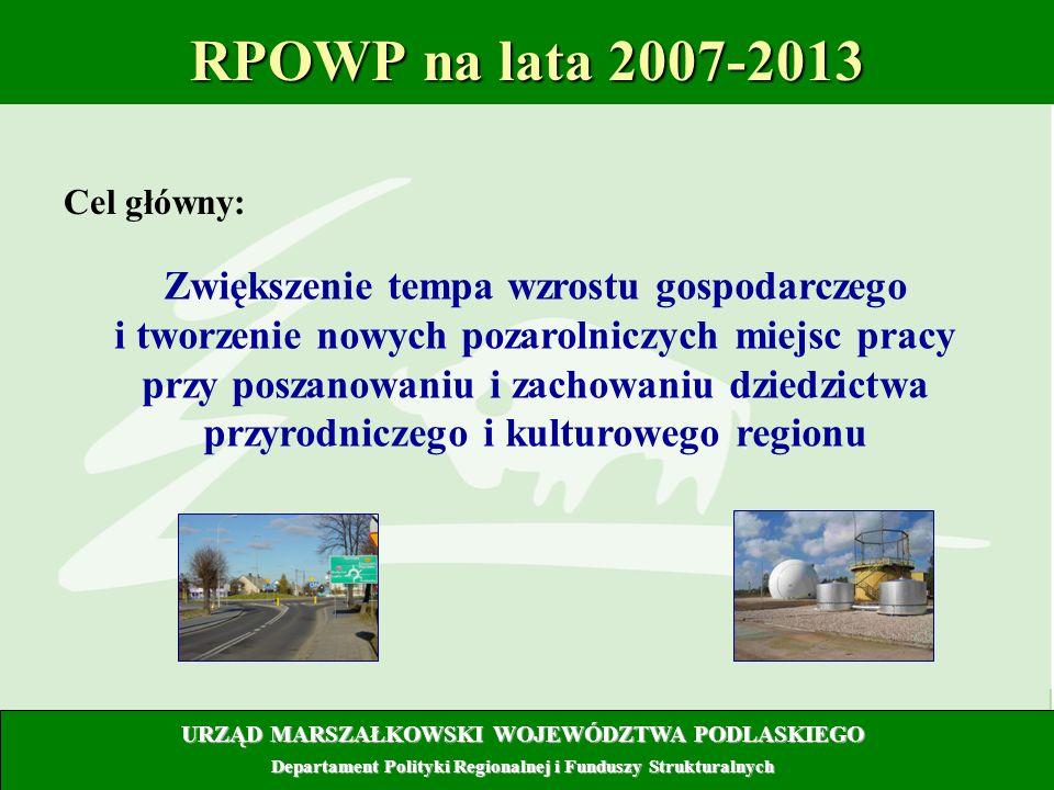 8 RPOWP na lata 2007-2013 Cel główny: URZĄD MARSZAŁKOWSKI WOJEWÓDZTWA PODLASKIEGO Departament Polityki Regionalnej i Funduszy Strukturalnych Zwiększen
