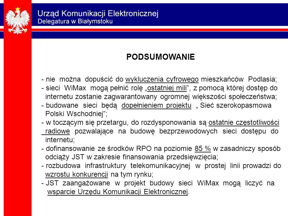 - nie można dopuścić do wykluczenia cyfrowego mieszkańców Podlasia; - sieci WiMax mogą pełnić rolę ostatniej mili, z pomocą której dostęp do internetu