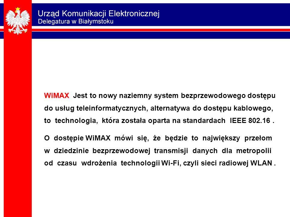 WiMAX WiMAX Jest to nowy naziemny system bezprzewodowego dostępu do usług teleinformatycznych, alternatywa do dostępu kablowego, to technologia, która