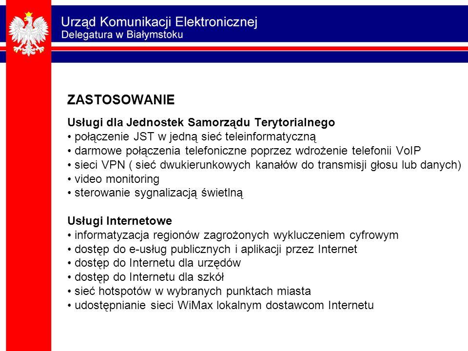 ZASTOSOWANIE Usługi dla Jednostek Samorządu Terytorialnego połączenie JST w jedną sieć teleinformatyczną darmowe połączenia telefoniczne poprzez wdroż