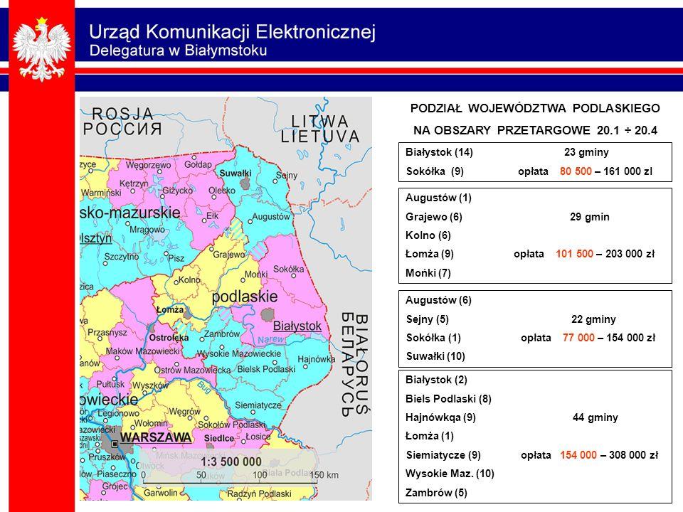 Augustów (6) Sejny (5) 22 gminy Sokółka (1) opłata 77 000 – 154 000 zł Suwałki (10) Augustów (1) Grajewo (6) 29 gmin Kolno (6) Łomża (9) opłata 101 50