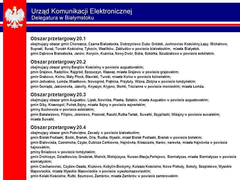 Obszar przetargowy 20.1 obejmujący obszar gmin Choroszcz, Czarna Białostocka, Dobrzyniewo Duże, Gródek, Juchnowiec Kościelny,Łapy, Michałowo, Supraśl,