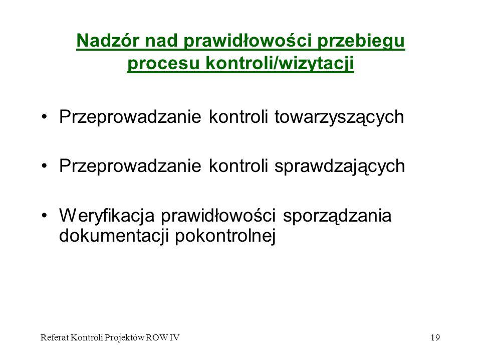 Referat Kontroli Projektów ROW IV19 Nadzór nad prawidłowości przebiegu procesu kontroli/wizytacji Przeprowadzanie kontroli towarzyszących Przeprowadza