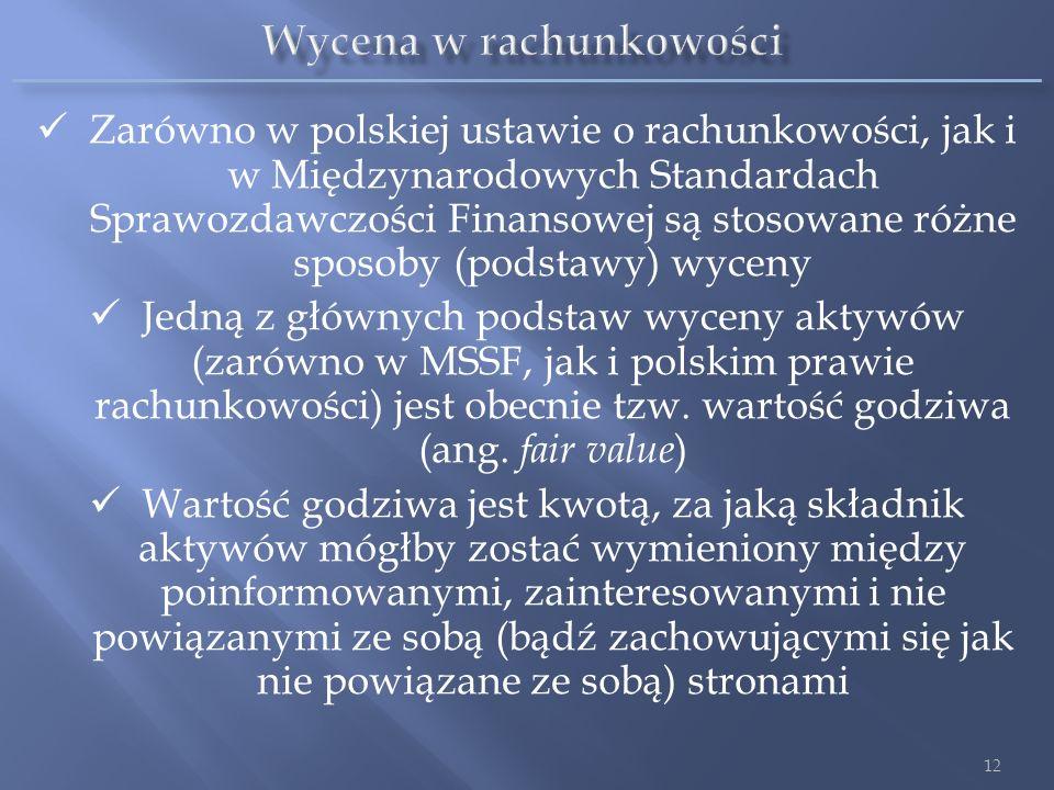 Zarówno w polskiej ustawie o rachunkowości, jak i w Międzynarodowych Standardach Sprawozdawczości Finansowej są stosowane różne sposoby (podstawy) wyc