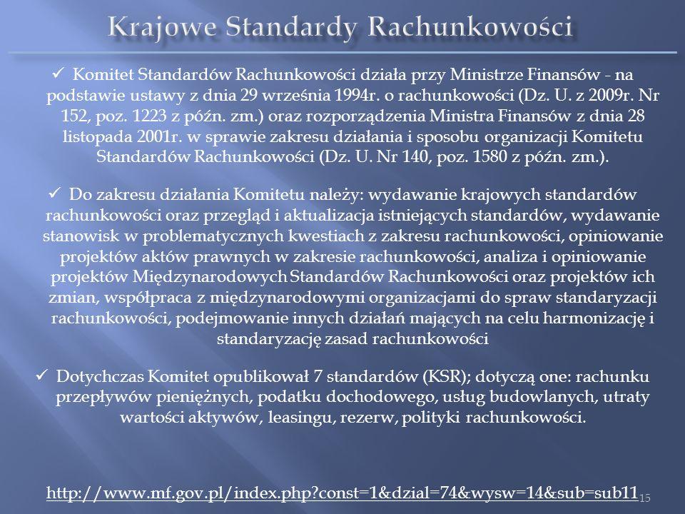 Komitet Standardów Rachunkowości działa przy Ministrze Finansów - na podstawie ustawy z dnia 29 września 1994r. o rachunkowości (Dz. U. z 2009r. Nr 15